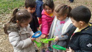 Çocuklarla bahçede bulduğumuz böcekleri incelerken